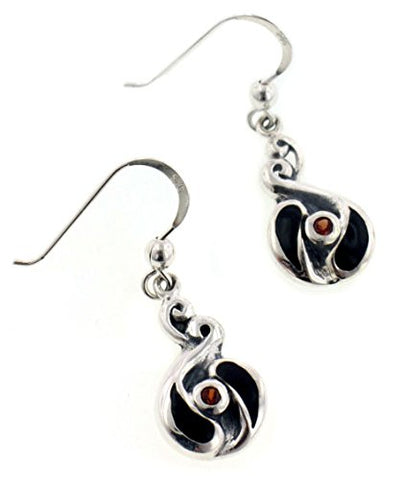 Unusual Celtic Swirled Black Inlay and Genuine Garnet Sterling Silver Earrings