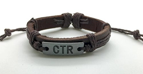 Genuine Leather CTR Bracelet - Hand stamped CTR Metal Plate