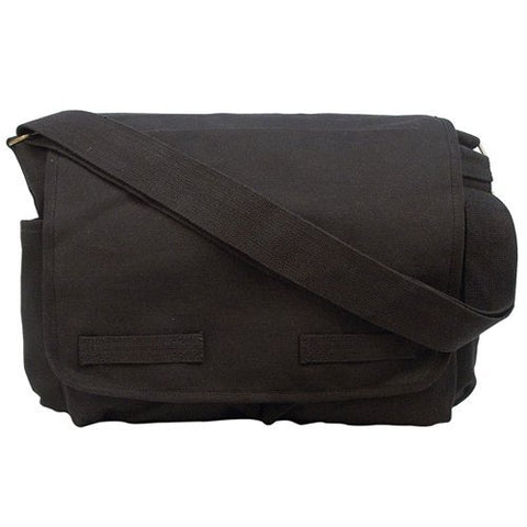 Heavyweight Classic Canvas Messenger Bag, Black