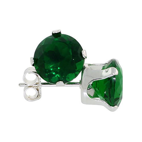 Sterling Silver Cubic Zirconia Emerald Earrings Studs 7 mm 2 1/2 carat/pair