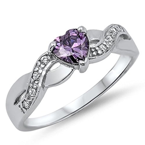 CHOOSE YOUR COLOR Infinity Knot Heart Shaped Promise Ring 925 Sterling Silver Band Sizes 4-10 (Sterling Silver - Amethyst CZ, 7)