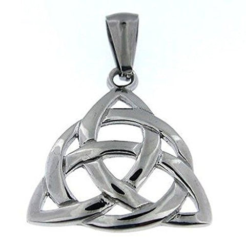 Triquetra Trinity Celtic Knot Pendant Necklace Steel Chain Fashion Stainless