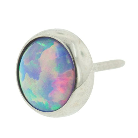 Threadless Titanium Synthetic Opal Cabochon End: 18g High Polish, Gem: 2mm, Lavender Opal Gem