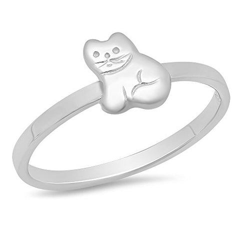 Sterling Silver Rhodium Plated Child's Polished Kitty Cat Ring - Size 4