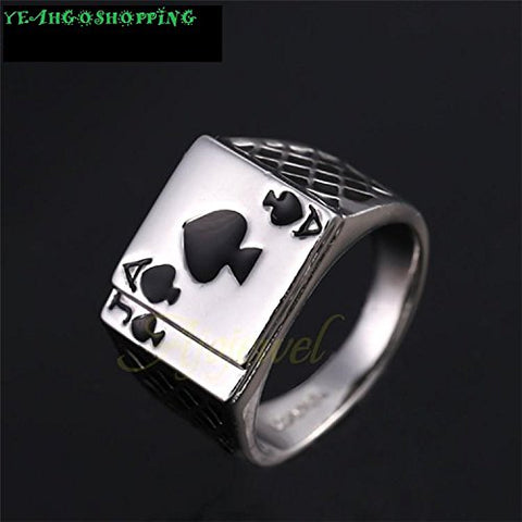 Men's Jewelry Chunky 18K White Gold Plated Black Enamel Spades Poker Ring Men (9)