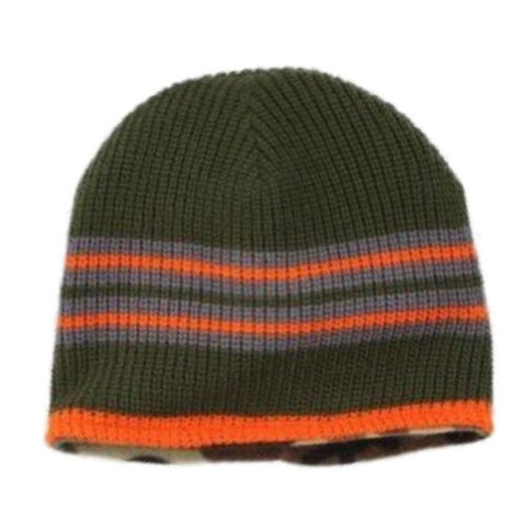 Ben Berger Boys Reversible Green Knit Beanie Cammo Fleece Stocking Cap Hat