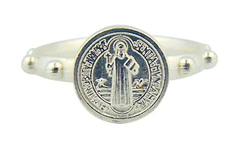 Saint Benedict Silver Tone One Decade Rosary Ring - Size Large