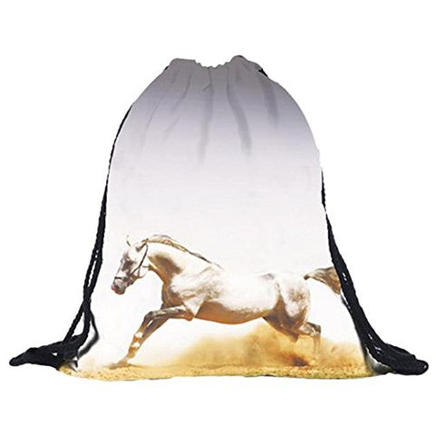 BESSKY Horse Printing Bags Drawstring Backpack