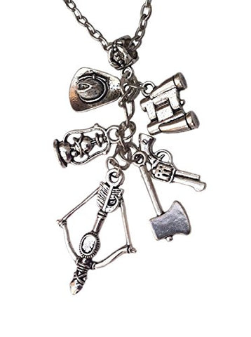 Zombie Charm Necklace Rick Grimes, Gun and Other Charms