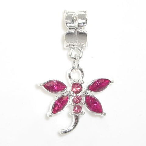 Jewelry Monster Silver Finish  Dangling Dragonfly w/ Magenta Crystal Rhinestone Wings  Charm Bead for Snake Chain Charm Bracelet