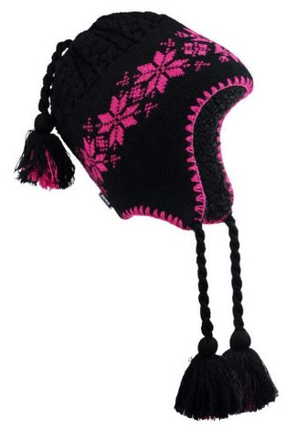 Black Winter Hat - Pink Flowers & Trim with Inside Lining