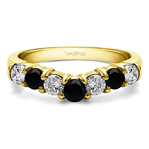 Black&White CZ Contour Anniversary Ring In Yellow Plated Silver(0.33Ct)Size 3 To 15 in 1/4 Size Interval