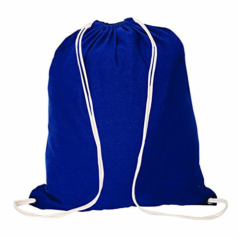 Bags for Less Cotton Drawstring Backpack Sports Bag, Royal Blue