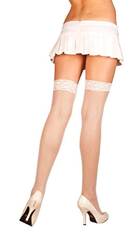 Fishnet Thigh High with Stretch Lace Top (PLUS SIZE, Red)
