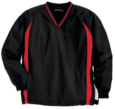 Sport-Tek Sport-Tek, Tipped V-Neck Raglan Wind Shirt, Black/True Red, 4XL
