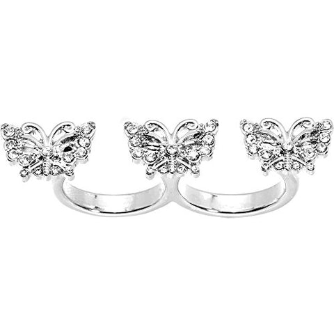 Size 6 and 7 Clear Butterfly Trio Double Finger Ring