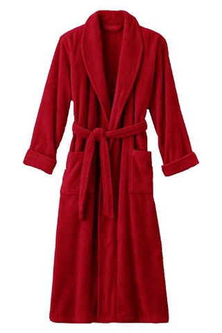 Mens Red Luxury Terry Velour Bathrobe 48  Length 100% Cotton