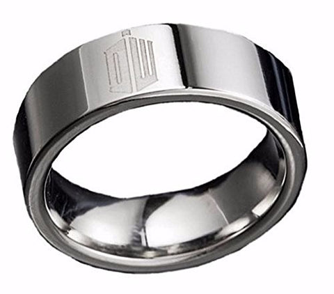 Doctor Who Logo Stainless Steel BAND RING Unisex Size 10