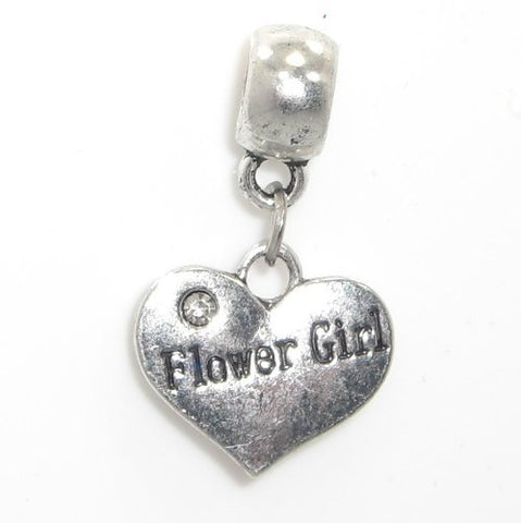 Jewelry Monster Antique Finish  Dangling Flower Girl Heart w/ White Crystal Rhinestone  Charm Bead for Snake Chain Charm Bracelet