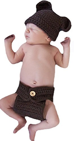 Melondipity's Teddy Bear Hat and Diaper Cover Set - Chocolate Brown Crochet