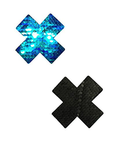Black and Blue Reversible Cross X Rave Pasties