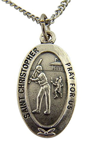 Silver Toned Base Saint Christopher Sports Medal for Girl Softball Athlete, 1 Inch