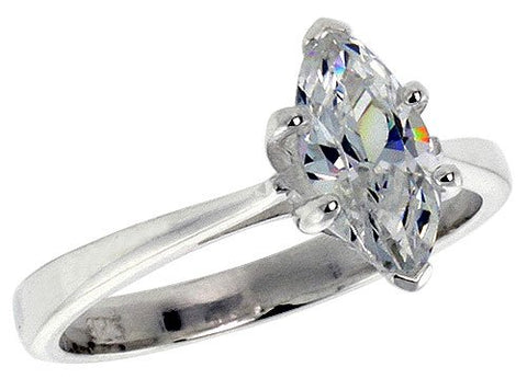 Sterling Silver .85 Carat size Marquise Cut Cubic Zirconia Solitaire Bridal Ring (Available in Sizes 6 to 10) size 7