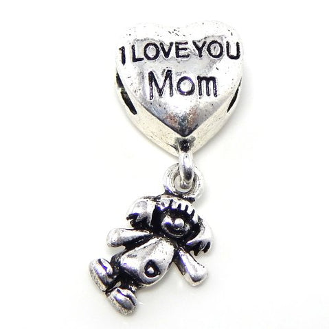 Jewelry Monster Silver Finish  I Love You Mom w/ Dangling Daughter  Charm Bead for Snake Chain Charm Bracelet