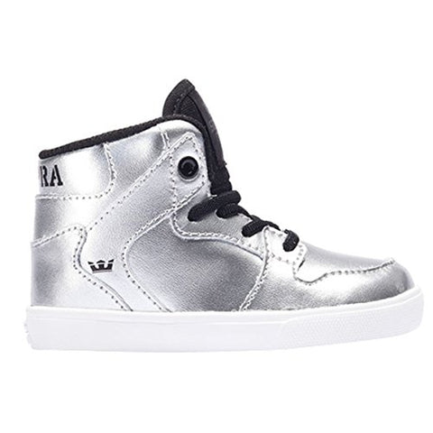 Supra Baby Boys Vaider Shoes Size 8 Metallic Silver - White