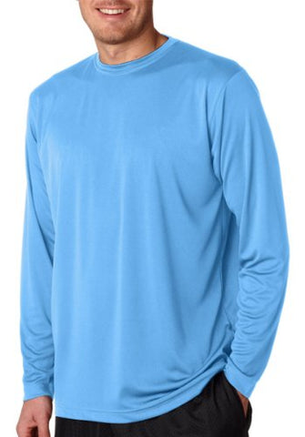 UltraClub Adult Cool & Dry Sport Long-Sleeve Performance Interlock Tee 8422 - Columbia Blue_XL