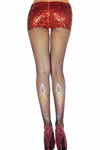 Rainbow Peacock Back Print Black Fishnet Pantyhose