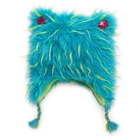 Total Girl Trapper Girls Fuzzy Blue Plush Fur Winter Hat Peruvian Beanie