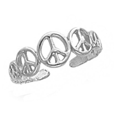 Solid 10k White Gold Peace Sign Toe Ring