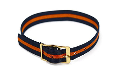 Vintage 12mm Multicolor Orange Blue Stripe One Piece Slip Thru Nylon Sport Active Watch Band Strap