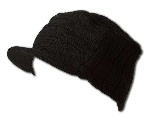 Square Rib knitted short visor Beanie hat black