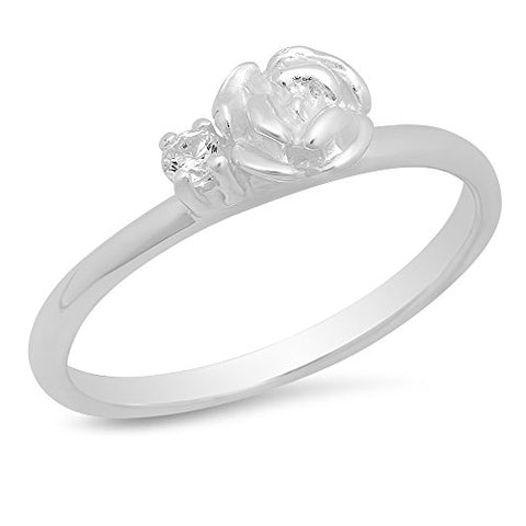 Sterling Silver Clear Cubic Zirconia Rose Kid's Ring - Size 4