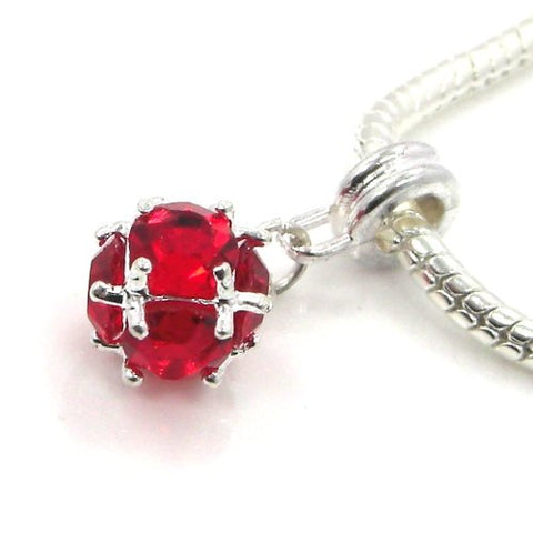 Jewelry Monster Silver Finish  Dangling Red Rhinestone Ball  July Birthstone Charm Bead for Snake Chain Charm Bracelet