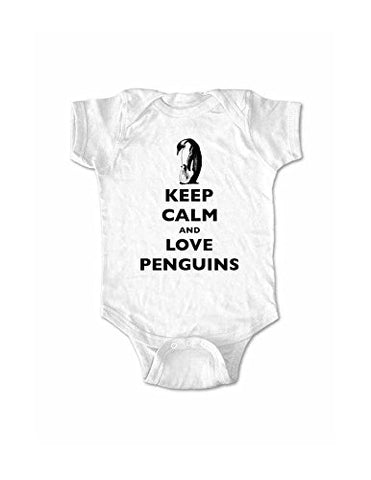 Keep Calm And Love Penguins baby one piece bodysuit (Newborn, White)