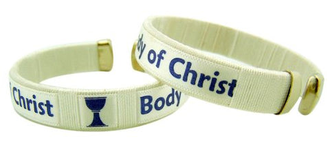 First Communion Gift Body of Christ 7 1/2 Inch Adjustable White Cuff Bracelet for Girls