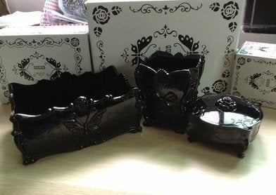 Sets 3 Anna Sui style make up storage boxes ( 1 makeup brush holder,1 jewelry case and 1 cotton pads box)