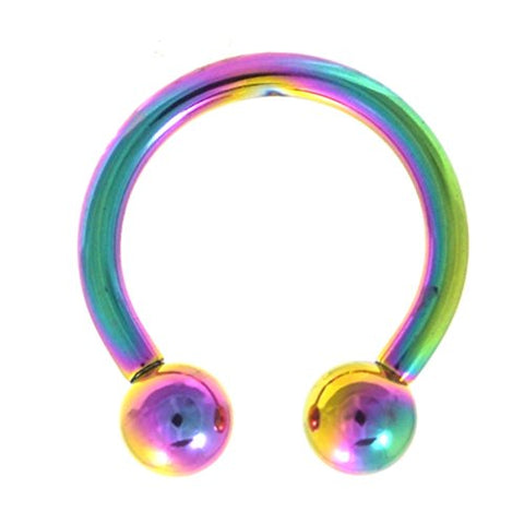 10G 1/2  Vivid Rainbow Plated Horseshoe Ring (Circular Barbell) Jewelry for Stretched Piercings