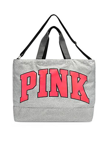 Victoria's Secret Pink Weekender 2017 Oversized Duffle Tote Marl Grey Neon Red Logo