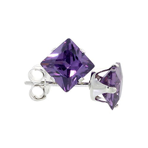 Sterling Silver Cubic Zirconia Square Amethyst Earrings Studs 5 mm Princess cut Purple Color 1.5 carats/pair