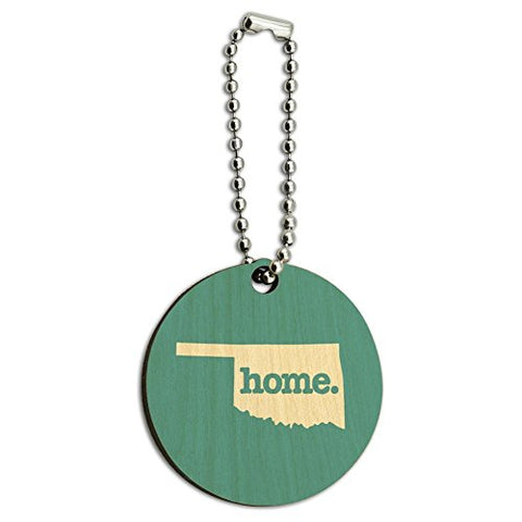 Oklahoma OK Home State Wood Wooden Round Key Chain - Solid Robin Egg Blue