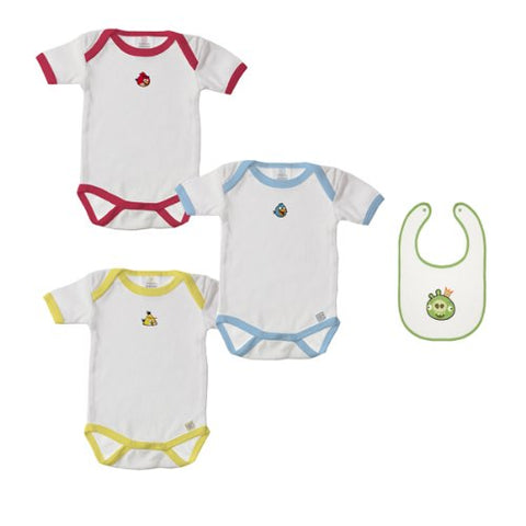 Angry Birds 3-month Bodysuits and Bib Gift Set - Set of 4