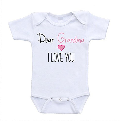 Dear Grandma I Love You Grandmother Adorable Baby Clothing newborn(0-3 Months)