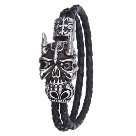 SWEETIE 8 Mens Unisex Devil Skull Two Strands Leather Wrap Bracelet