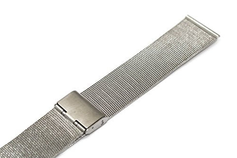 22MM SILVER STAINLESS STEEL MESH METAL BUCKLE WATCH BAND STRAP FITS SKAGEN