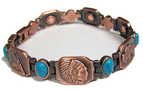 BUFFALO TEEPEE FEATHER INDIAN HEAD SOLID COPPER Magnetic Link Health Energy Bracelet