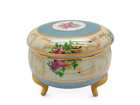 Victorian Jewelry Box Deluxe Gold Round Jewelry Box